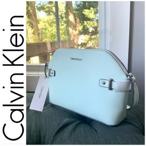 NWT Calvin Klein genuine leather Crossbody mint
